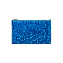 Shattered Blue Glass Cosmetic Bag (small)  by AnjaniArt