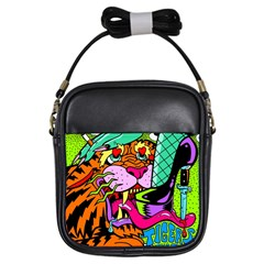 Tiger Lion Girls Sling Bags by AnjaniArt