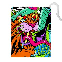 Tiger Lion Drawstring Pouches (xxl) by AnjaniArt