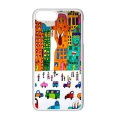 Painted Autos City Skyscrapers Apple iPhone 7 Plus White Seamless Case by Zeze