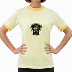 Fantasy Monster Head Drawing Women s Fitted Ringer T Shirts