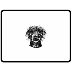 Fantasy Monster Head Drawing Double Sided Fleece Blanket (large)  by dflcprints