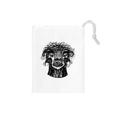 Fantasy Monster Head Drawing Drawstring Pouches (small)