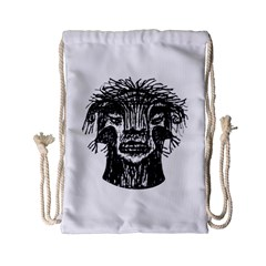 Fantasy Monster Head Drawing Drawstring Bag (small) by dflcprints