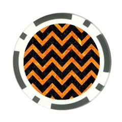 Chevron9 Black Marble & Orange Marble Poker Chip Card Guard (10 Pack) by trendistuff