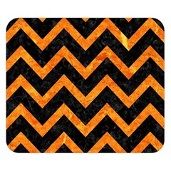 Chevron9 Black Marble & Orange Marble Double Sided Flano Blanket (small) by trendistuff