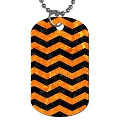 Chevron3 Black Marble & Orange Marble Dog Tag (two Sides) by trendistuff