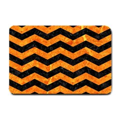 Chevron3 Black Marble & Orange Marble Small Doormat by trendistuff