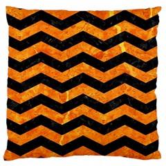 Chevron3 Black Marble & Orange Marble Large Cushion Case (two Sides) by trendistuff