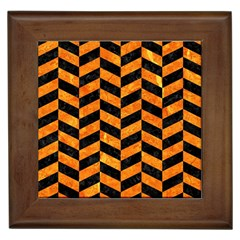 Chevron1 Black Marble & Orange Marble Framed Tile by trendistuff