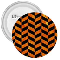 Chevron1 Black Marble & Orange Marble 3  Button by trendistuff