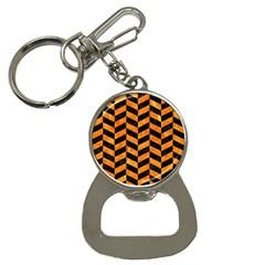Chevron1 Black Marble & Orange Marble Bottle Opener Key Chain by trendistuff