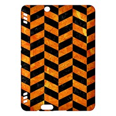 Chevron1 Black Marble & Orange Marble Kindle Fire Hdx Hardshell Case by trendistuff