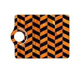 Chevron1 Black Marble & Orange Marble Kindle Fire Hd (2013) Flip 360 Case by trendistuff