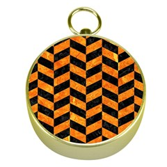 Chevron1 Black Marble & Orange Marble Gold Compass by trendistuff