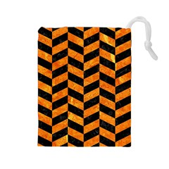 Chevron1 Black Marble & Orange Marble Drawstring Pouch (large) by trendistuff