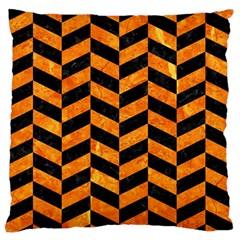 Chevron1 Black Marble & Orange Marble Large Flano Cushion Case (two Sides) by trendistuff