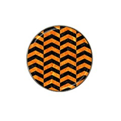 Chevron2 Black Marble & Orange Marble Hat Clip Ball Marker (10 Pack) by trendistuff