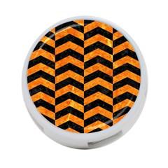 Chevron2 Black Marble & Orange Marble 4 Port Usb Hub (two Sides) by trendistuff