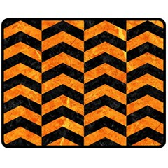 Chevron2 Black Marble & Orange Marble Fleece Blanket (medium) by trendistuff