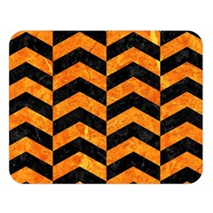 Chevron2 Black Marble & Orange Marble Double Sided Flano Blanket (large) by trendistuff
