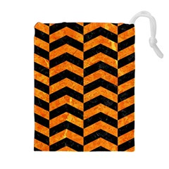 Chevron2 Black Marble & Orange Marble Drawstring Pouch (xl) by trendistuff
