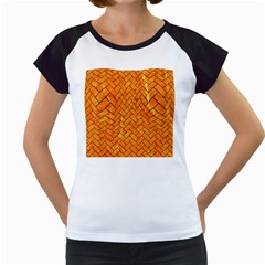 Brick2 Black Marble & Orange Marble (r) Women s Cap Sleeve T by trendistuff