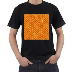 Brick2 Black Marble & Orange Marble (r) Men s T Shirt (black) by trendistuff