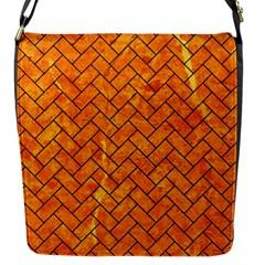 Brick2 Black Marble & Orange Marble (r) Flap Closure Messenger Bag (s) by trendistuff