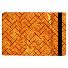 Brick2 Black Marble & Orange Marble (r) Apple Ipad Air Flip Case by trendistuff