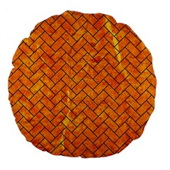 Brick2 Black Marble & Orange Marble (r) Large 18  Premium Flano Round Cushion  by trendistuff