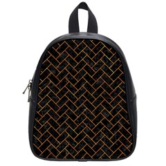 Brick2 Black Marble & Orange Marble School Bag (small) by trendistuff
