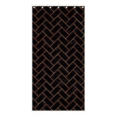 Brick2 Black Marble & Orange Marble Shower Curtain 36  X 72  (stall) by trendistuff
