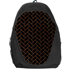 Brick2 Black Marble & Orange Marble Backpack Bag by trendistuff