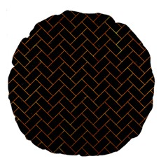 Brick2 Black Marble & Orange Marble Large 18  Premium Round Cushion  by trendistuff