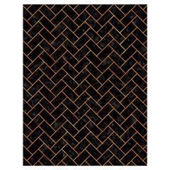 Brick2 Black Marble & Orange Marble Drawstring Bag (large) by trendistuff