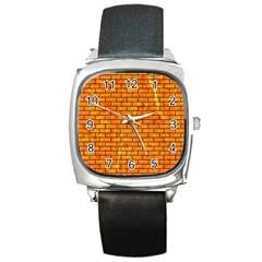 Brick1 Black Marble & Orange Marble (r) Square Metal Watch by trendistuff
