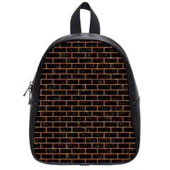 Brick1 Black Marble & Orange Marble School Bag (small) by trendistuff