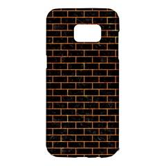Brick1 Black Marble & Orange Marble Samsung Galaxy S7 Edge Hardshell Case by trendistuff