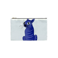 Blue Cat Cosmetic Bag (small)  by Valentinaart