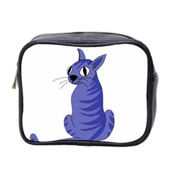 Blue Cat Mini Toiletries Bag 2 Side by Valentinaart