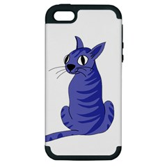 Blue Cat Apple Iphone 5 Hardshell Case (pc+silicone) by Valentinaart