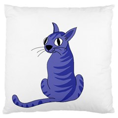 Blue Cat Large Flano Cushion Case (two Sides) by Valentinaart