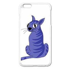 Blue Cat Apple Iphone 6 Plus/6s Plus Enamel White Case by Valentinaart