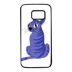 Blue cat Samsung Galaxy S7 Black Seamless Case