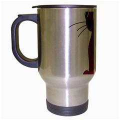 Purple Cat Travel Mug (silver Gray) by Valentinaart