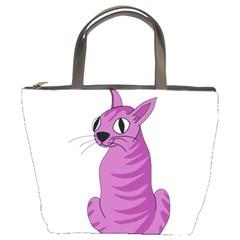 Purple Cat Bucket Bags by Valentinaart