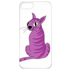 Purple Cat Apple Iphone 5 Classic Hardshell Case by Valentinaart
