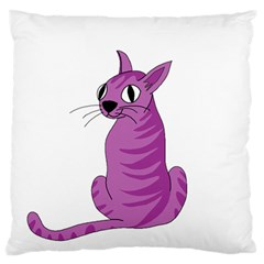 Purple Cat Standard Flano Cushion Case (one Side) by Valentinaart