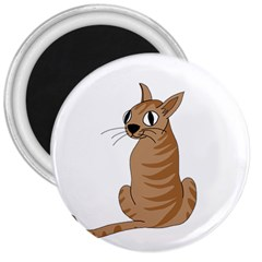 Brown Cat 3  Magnets by Valentinaart